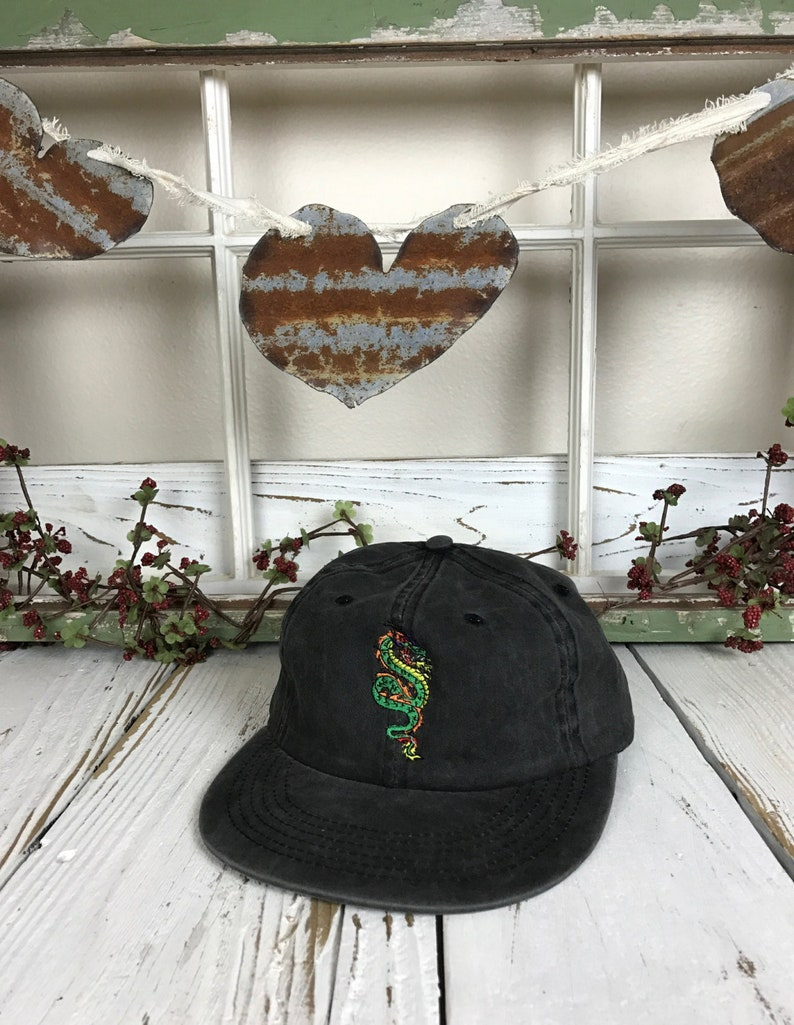 811b2aac DRAGON Embroidered Unstructured Hat Cap Flat Bill Strapback   Etsy