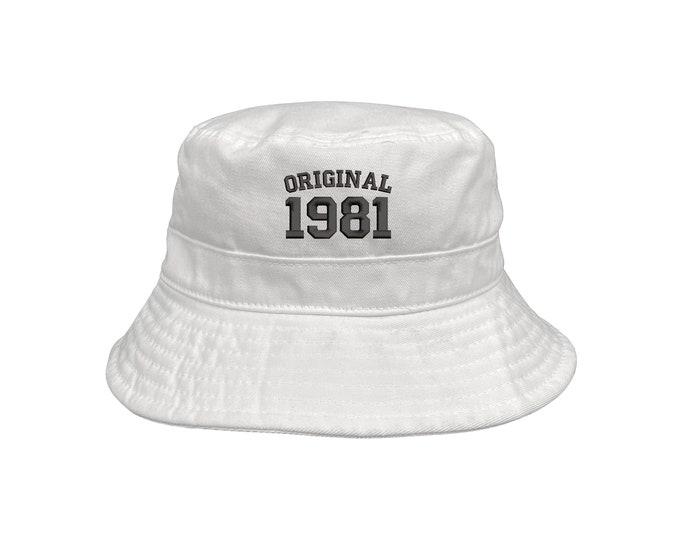 Original 1981 Bucket Hat, Unisex Embroidered Hat, 40th Birthday Bucket Hat, 2021 Birthday Bucket Hats, Custom Made Cap, Summer Bucket Hat