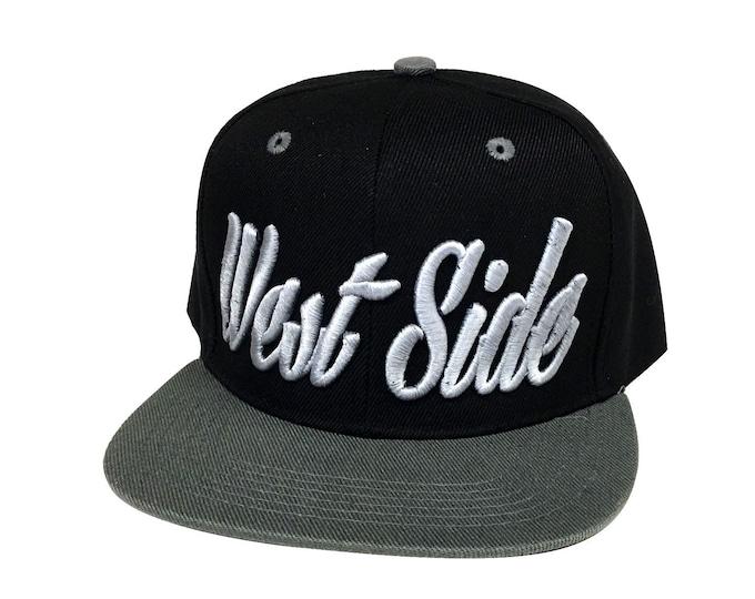 Snapback WEST SIDE 3D Hat , Vintage Flat Bill Snapback , West Side Caps Hats From the West Coast  Hip Hop Snapback Hat,  Upper West Side Cap