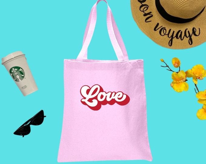 Love Canvas Tote Bag, Cotton Tote Bag, Groovy Print Tote Bag, Reusable Market Bag, Cafe Bag, 70s Cute Tote, Eco-Friendly Shopping Bag