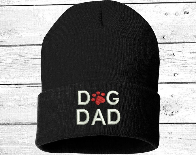 DOG DAD Embroidered Beanie Cuffed Cap, For Pet Lovers Slouched Beanie, Messy Hair Beanies Black Cuffed Beanie Gifts for Pet Lovers