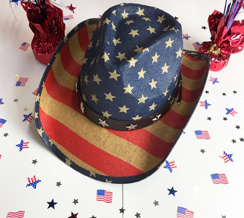 22f87ea7bbe USA Cowboy Hat Western American Flag Hat 4th of July Straw