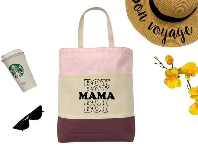 Boy Mama Tri-Color Tote Bag, Cotton Tote Bag, Large Tote Bag, Reusable Market Bag, Beach Bag, Cute Tote Bag, Eco-Friendly Shopping Bag