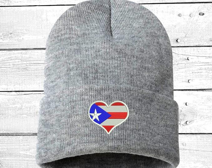 Puerto Rican Flag Heart Cuffed Beanie, Puertorican Festival Hats, Embroidered Beanie Rico Dad Hats, Boricua Hats