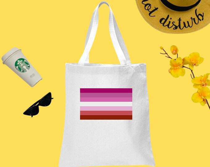 Lesbian Pride Flag Canvas Tote Bag, Cotton Tote Bag, Printed Tote Bag, Reusable Market Bag, Coffee Bag, Cute Tote, Eco-Friendly Shopping Bag