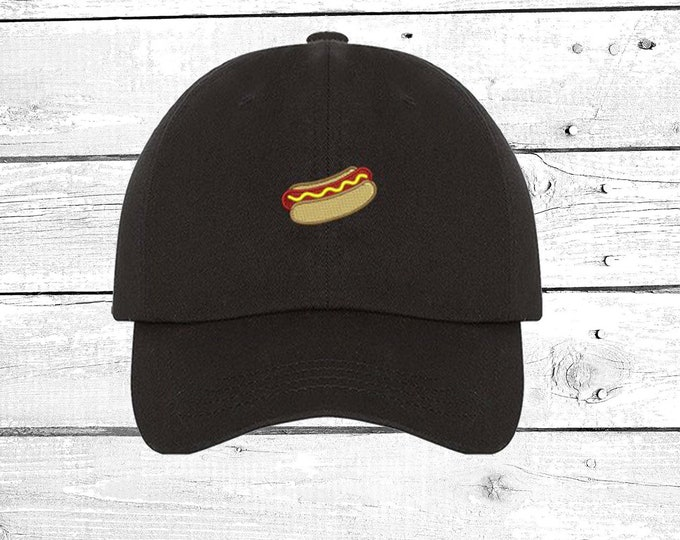 Hot Dog Hats  Mini Hot Dog Baseball hat  Hot Dog Patch  Embroidered Hats  Fashion Dad Hat  Tumblr Hat Trending Hats  Beach Hat  Dad Caps
