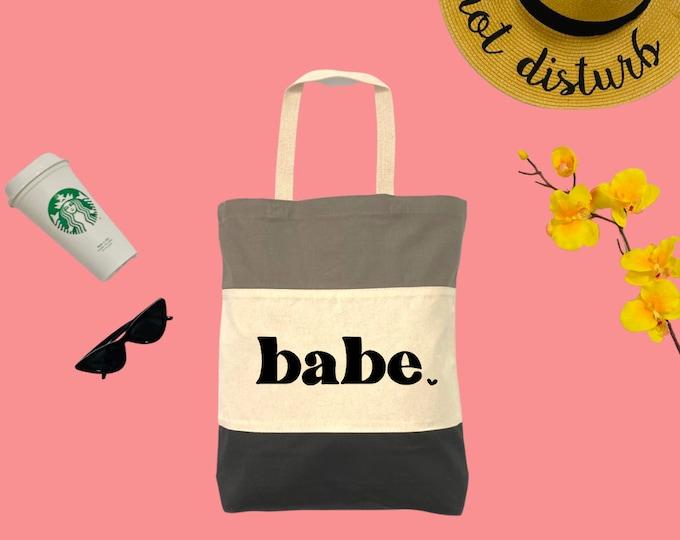 babe. Tri-Color Tote Bag, Cotton Tote Bag, Large Tote Bag, Reusable Market Bag, Beach Bag, Cute Tote Bag, Eco-Friendly Shopping Bag