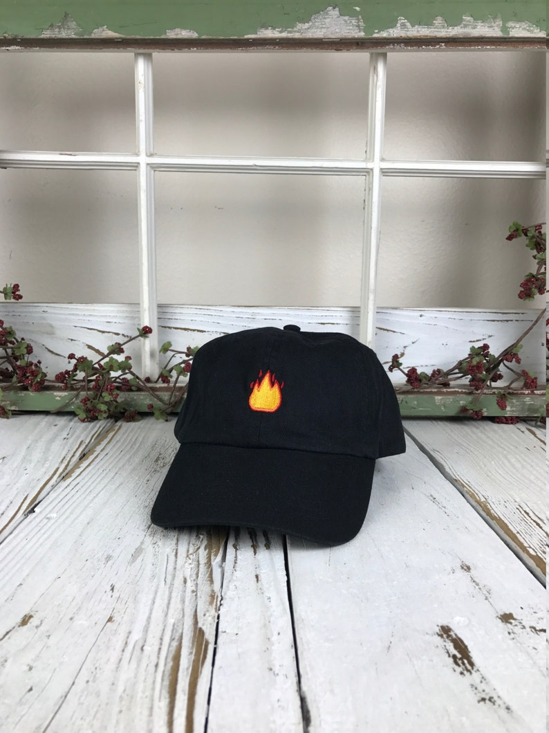 33dffe6eefb Lit Fire Emoji Hat Embroidered Baseball Cap Dad Hat Low