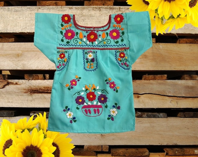 Mexican Traditional Toddler Dress , Mexican Girl Outfit, Floral Hand Embroidery Dress, Mexican Girl Clothes, Mexican Dress with Slits