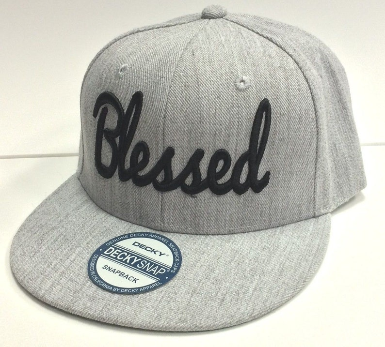 BLESSED 3D Flat Bill Snapback Cap Hat BLESSED  f0a49c34d844