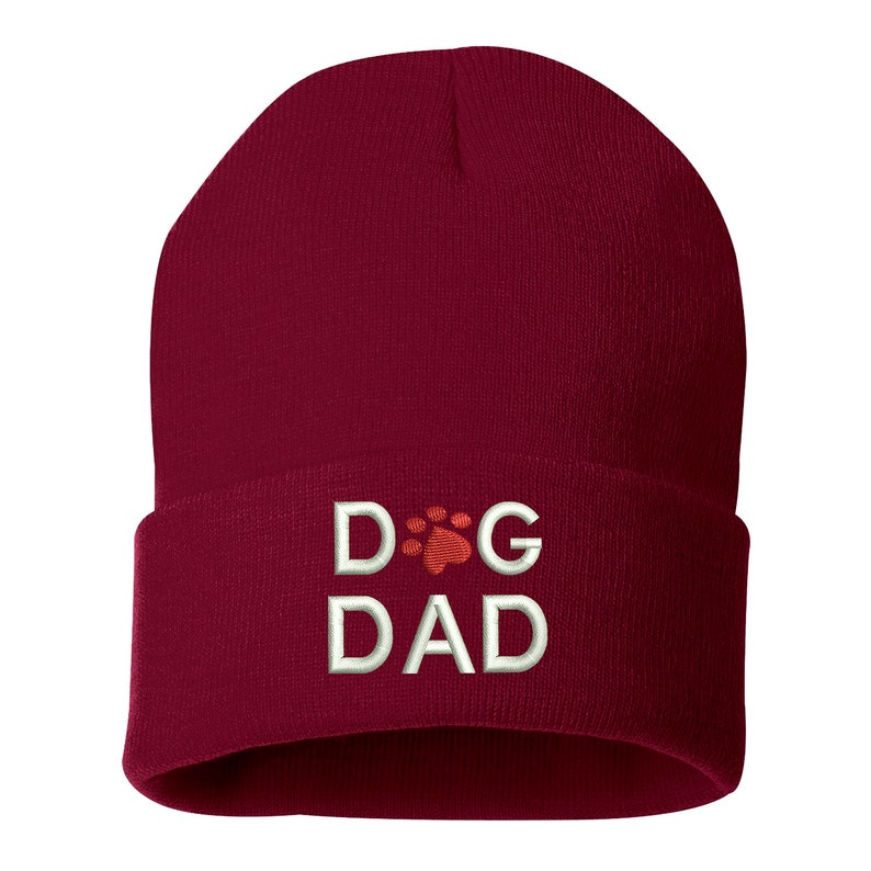 05ec68f726a DOG DAD Embroidered Beanie Cuffed Cap For Pet Lovers Slouched
