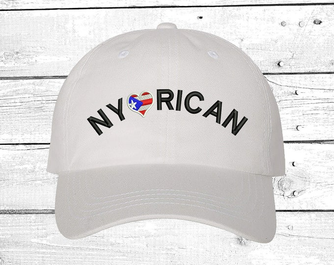 NY Rican Flag, Baseball Hat, Puertorican Festival Hats, New York, Embroidered Baseball Cap, Puerto Rico Dad Hats, Boricua Hats