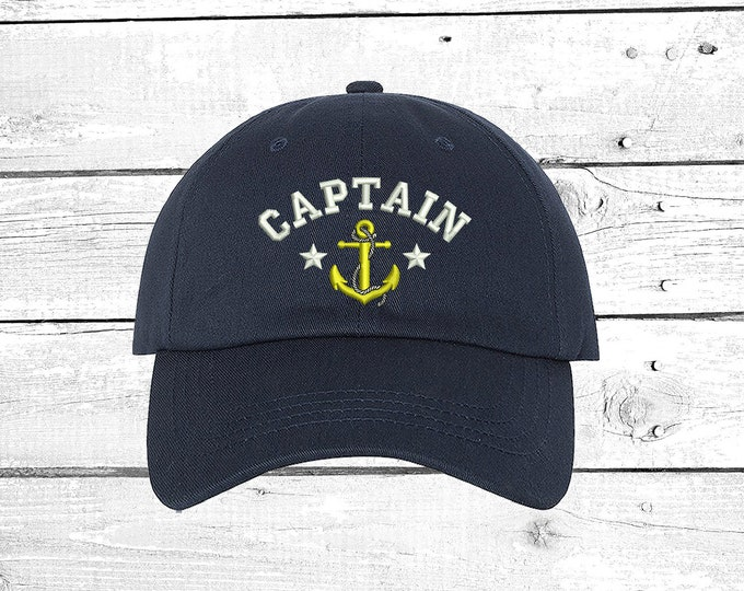 Captain Hats  Captain Baseball Hat Stocking Stuffers, Embroidered Anchor Cap Ready to Ship Captain First Matte Hats