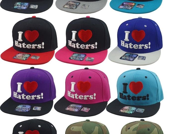 New I LOVE HATERS 3D Flat Bill Snapback Cap Hip Hop Heart  Baseball Cap Hat Many Bright Colors