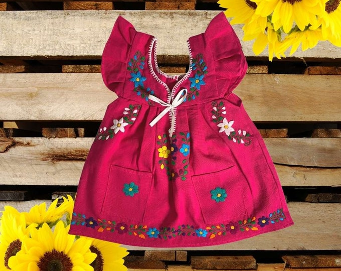 Mexican Traditional Baby Dress , Mexican Baby Outfit, Floral Hand Embroidery Dress, Mexican Baby Clothes, Mexican Toddler Dress with Pockets