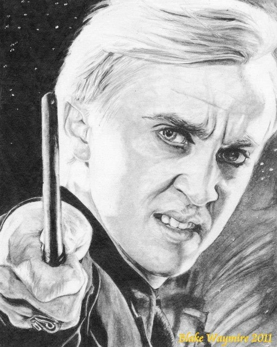 8 X 10 Graphite Drawing Draco Malfoy From Harry Potter Etsy