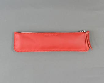 Handmade LeadorDead Red Leather Pencil Case