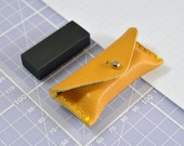 Handmade Yellow Leather Pencil Eraser Case & Black Eraser