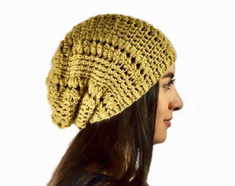 Soft Merino Wool Slouchy, Crochet Slouchy hat, Oversized Slouchy Beanie, Mustard Yellow Slouchy, Fall/Winter Fashion Ready To Ship