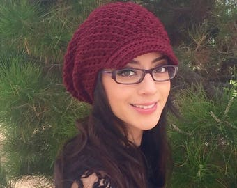 Oversized Slouchy Beanie, Crochet Slouchy hat, Newsboy Beanie, Newsboy Hat, Burgundy Slouchy, Fall/Winter Fashion Ready To Ship