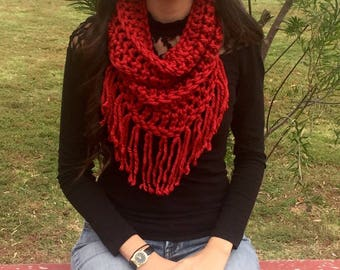 Chunky Cowl, Infinity Scarf, Crochet Cowl With Fringe, Super Soft Spice Red Scarf, Circle Scarf, Fall Fashion, Winter Fashion, Ready To Ship
