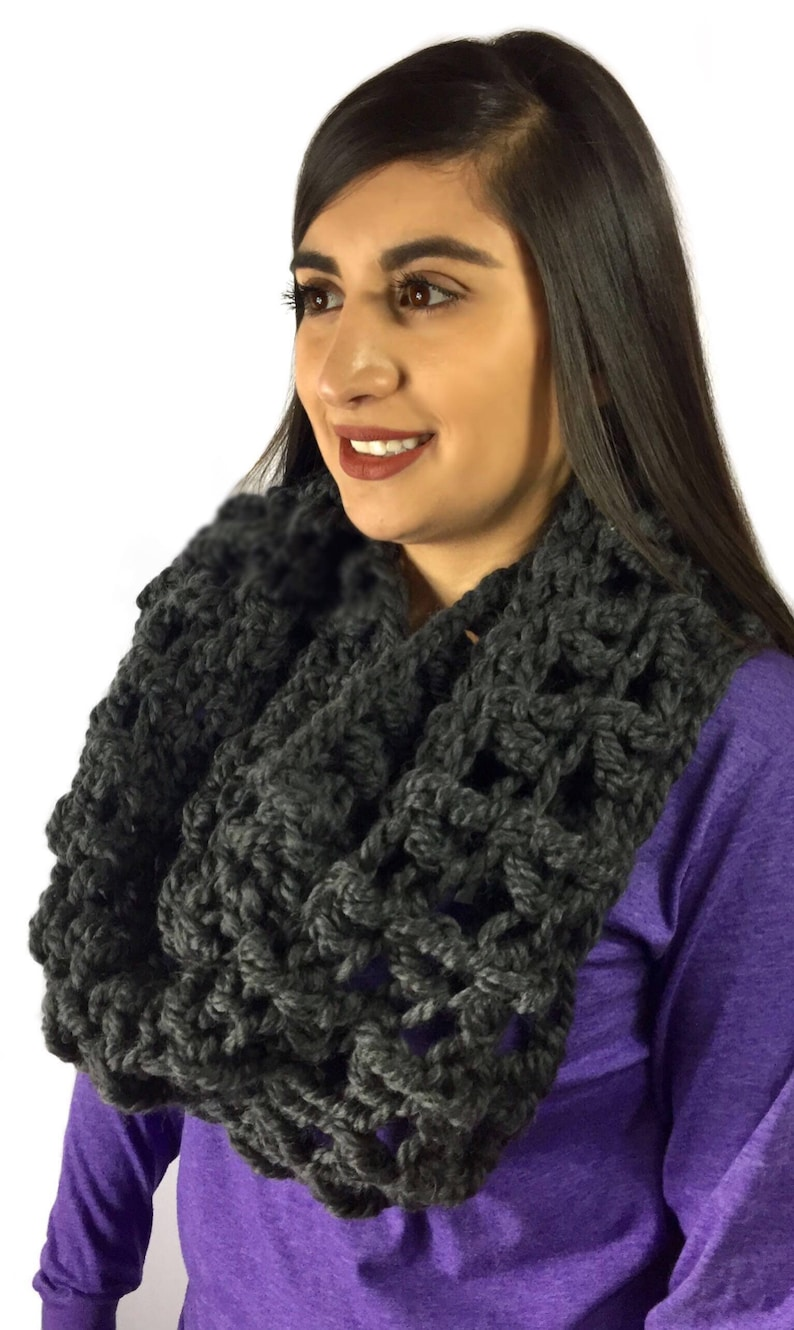 Oversized Chunky Cowl Hooded Scarf Chunky Shoulder Wrap Wool Hooded Cowl Oversized Scarf Crochet Cowl Wool Circle Scarf Ready to Ship
