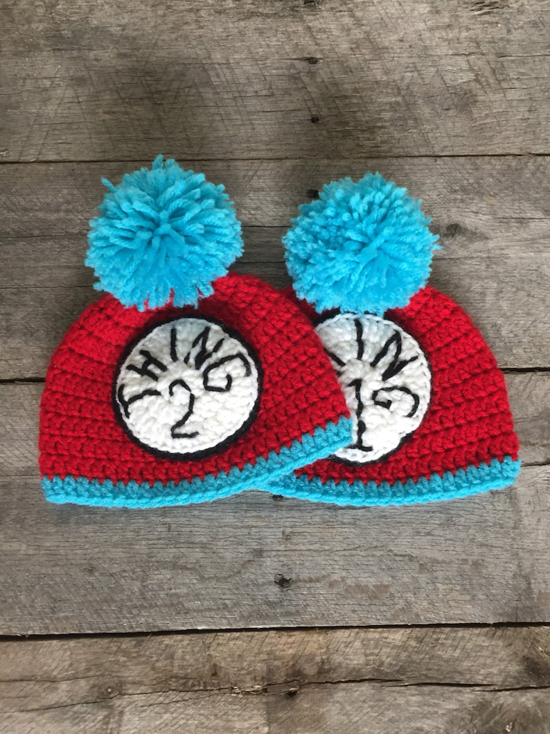 76f97fa150c Thing 1 and Thing 2 Baby Beanie set Dr. Seuss hat thing one