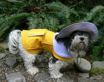 Waterproof Yellow Dog Rain Coat And Hat / Custom Taylored To Fit Your Dog  / Water proof Gortex Fabric / Need Measurments