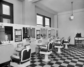 8 x 10 Print Vintage Photo 1925 Barber Shop Interior