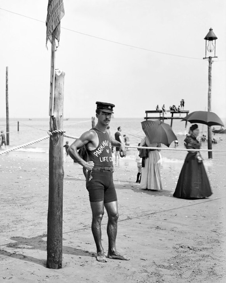 7ec10cf87 Vintage Image 1910 Lifeguard at Brighton Beach NY 8 x 10   Etsy