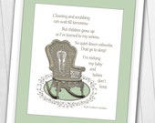 8 x 10 Instant Download Rock My Baby Cause Babies Don 39 t Sleep SAGE GREEN Digital Print
