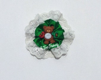 a87109f7166c1 Christmas Hair Clip Baby Xmas Hair Bow Baby girl Christmas Teddy bear Hair  Bow Green and White toddler Hair Clip