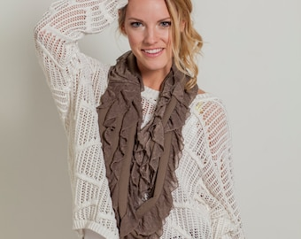Taupe Infinity Ruffle Scarf