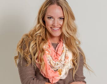Apricot Floral Infinity Ruffle Scarf