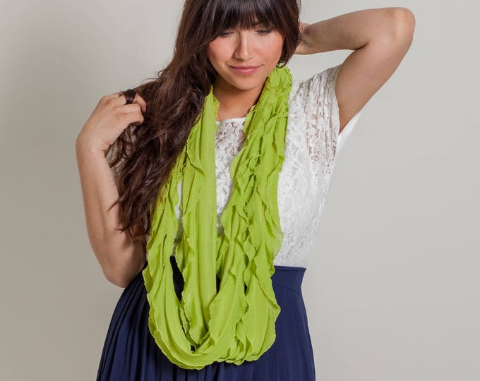 Chartreuse Infinity Ruffle Scarf