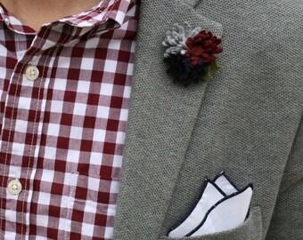 Wool Felt Flower Lapel Pin - Trio Oxford