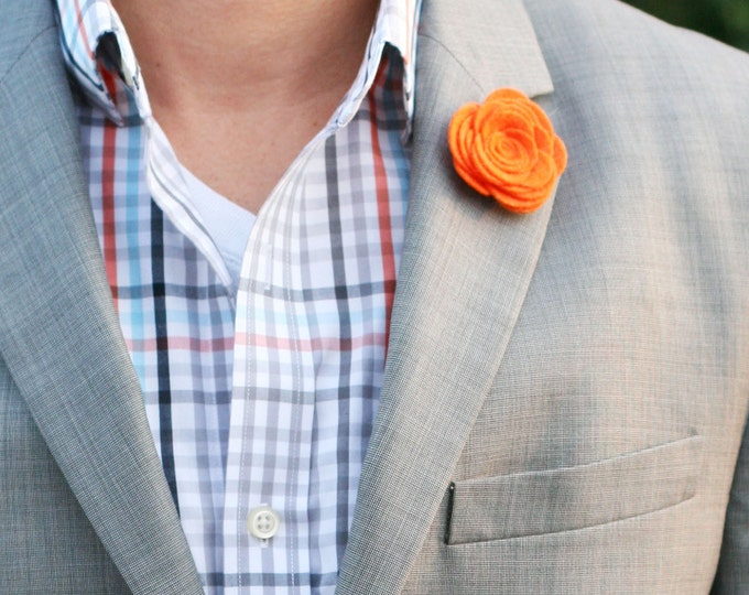 Wool Felt Flower Lapel Pin - Orange