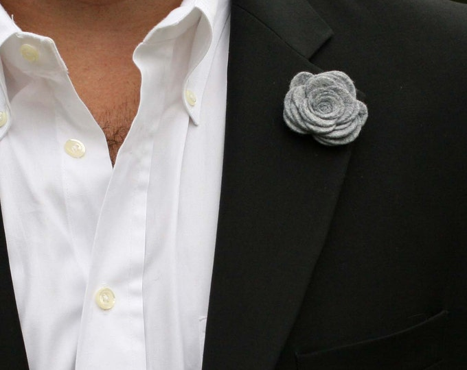 Wool Felt Flower Lapel Pin - Grey