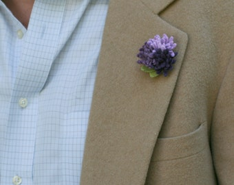 Wool Felt Flower Lapel Pin - Trio Purple