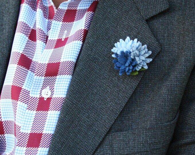 Wool Felt Flower Lapel Pin - Trio Blue