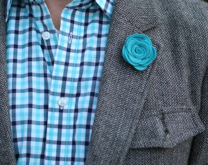 Wool Felt Flower Lapel Pin - Teal