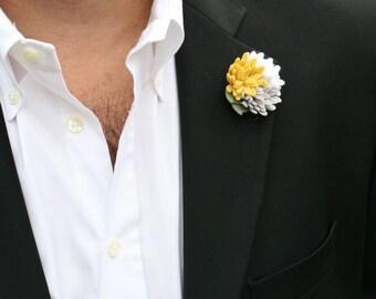 Wool Felt Flower Lapel Pin - Trio Yellow Grey White