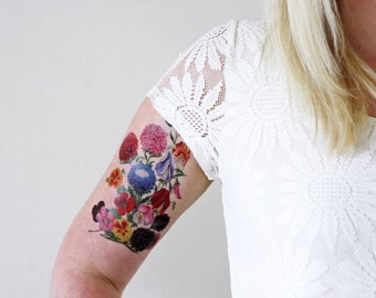 Vintage floral temporary tattoo / bohemian temporary tattoo / flower temporary tattoo / bohemian gift / festival temporary tattoo / festival