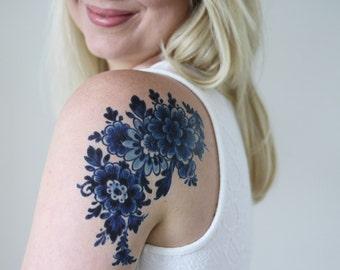 Dutch Delft Blue temporary tattoo / floral temporary tattoo / flower temporary tattoo / boho gift idea / something blue wedding / bohemian
