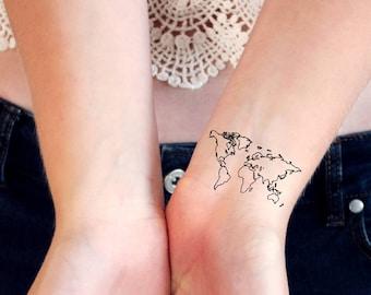 world map temporary tattoos / world tattoo / small temporary tattoo / festival tattoo / bohemian tattoo / travel tattoo / traveler tattoo