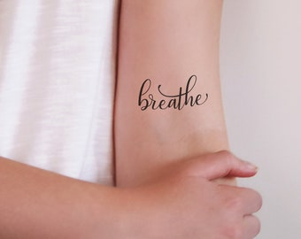 Breathe temporary tattoo / word tattoo / small temporary tattoo / quote tattoo / breathe tattoo