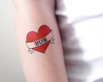 dd9baf052 I love mom temporary tattoo / mom tattoo / heart tattoo / mothers day tattoo  / mothers day gift idea / kids photo shoot prop / kids tattoo