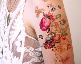 Vintage floral temporary tattoo / boho temporary tattoo / festival temporary tattoo / bohemian temporary tattoo / festival accessoire