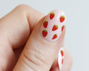 Strawberry nail tattoos / strawberry nail decals / nail art / strawberries nails / fruit nail decals / fruit nails / self care / N43