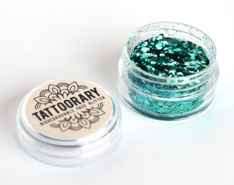 Biodegradable chunky face glitter in 'Mermaid' / bio glitter mix / Green and Blue biodegradable face glitter / cosmetic grade face glitter